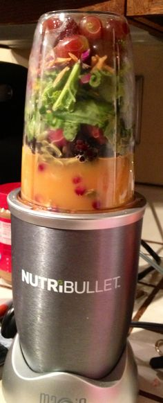 My favorite juice blend to date! A handful of each, cuz i don't measure: Red grapes, pumpkin seeds, kale, spinach, shredded carrots, blackberries, frozen strawberries, arils from one pomegranate and one orange, plus a little bit of fresh squeezed oj. Amazing! My 2.5 year old chugged hers! lol #Nutribullet #juicing #kale @NutriBullet