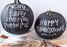 "This Thanksgiving share your holiday greetings and menu on a ""Chalkboard Pumpkin Centerpiece!"""