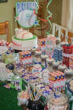 Baseball theme candy buffet/Yankees/bleachers/ Can be any sport or team