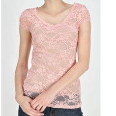 Last chance! Pale Pink scoop neck tee Light pink lace top. Never worn Tops