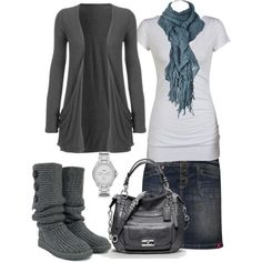 White, grey and blue outfit, so pretty - would swap out for ballet flats.