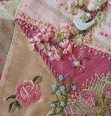 Silk Ribbon Embroidery Flowers Crazy Quilt ~~~~ beautiful embroidery, ribbon and beading embellishments Crazy Quilting, Crazy Quilt Stitches, Crazy Quilt Blocks, Quilting Ideas, Quilting Templates, Silk Ribbon Embroidery, Embroidery Stitches, Embroidery Patterns, Hand Embroidery