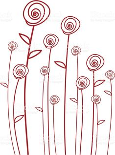 abstract red roses, vector background simple line drawings ( I could do something similar! Abstract Embroidery, Hand Embroidery Designs, Embroidery Stitches, Embroidery Patterns, Machine Embroidery, Simple Line Drawings, Continuous Line Drawing, Vector Background, Red Background