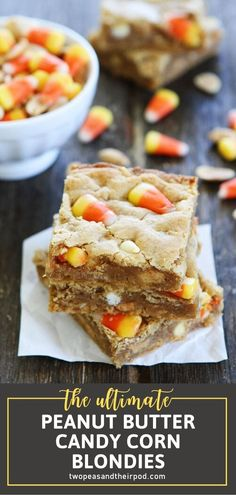 You have to try these Peanut Butter Candy Corn Blondies! Candy corn fans will go crazy over these dessert bars loaded with peanut butter flavor, white chocolate, and topped with sweet candy corn. Make a pan of this recipe to take to your Halloween party! Save this pin! Easy Halloween Food, Halloween Desserts, Holiday Desserts, Fun Desserts, Halloween Party, Halloween Ideas, Holiday Recipes, Halloween Baking, Holiday Treats
