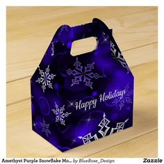 Amethyst Purple Snowflake Motif Gable Favor Box Holiday Parties, Holiday Cards, Christmas Cards, Christmas Favors, Christmas Card Holders, Favor Boxes, Hand Sanitizer, Keep It Cleaner, Snowflakes