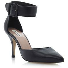 Black leather doll pointed toe two part ankle strap court shoe