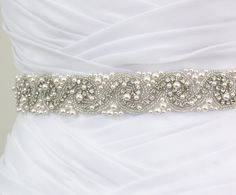 Best Seller - LAURA - Bridal Crystal Rhinestone And Pearls Sash, Rhinestone Bridal Belt, Wedding Beaded Sash, Rhinestone Wedding Belts. $175.00, via Etsy.