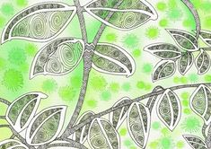 """""""Up in the Canopy"""" from Creative Doodling with Judy West, using her Pattern: Tree Trunk."""