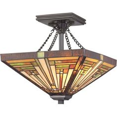 Stephen Vintage Bronze Two-Light Semi-Flush