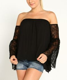 This Black Lace Bell-Sleeve Off-Shoulder Top by Marineblu is perfect! #zulilyfinds