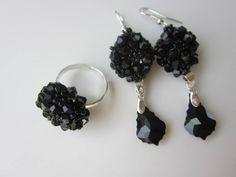 DIY Ring and Earrings with 4mm SW bicones. Кольцо и серьги своими руками .