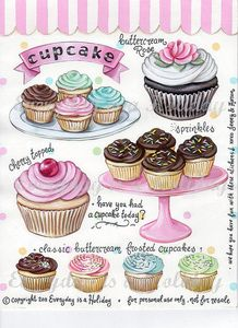 """Cupcakes"" Full Color Sticker Sheet ♥"