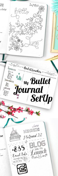 Bullet Journal SetUp including habit tracker, monthly log, calendex and many more spreads. As well as a free printable at the end of the blog post!