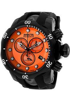 Invicta Men's Venom Reserve Chronograph Black Rubber Orange Dial