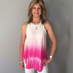 BD SALE NWT Adorable Top Boutique Top - hi low top with fringe around the sleeves - 100% rayon - 2 mediums - Please comment to buy - no discount unless bundled Renee C Tops Tank Tops