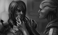 Female Shepard / Liara fanart