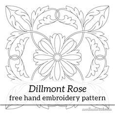 Dillmont Rose Hand Embroidery Pattern PDF – NeedlenThread.com. BEST SITE EVER!!! jwt