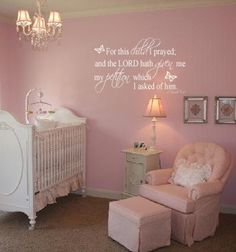 1 Samuel 1:27 For this child I have prayed- GIRL- Vinyl Wall Decal/Décor. $31.00, via Etsy.