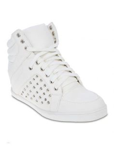 R399 www.zando.co.za Linx Studded High-Top Wedge Sneakers White