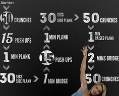 Take the challenge!  I love this site!!!  Core Workout everyday for 7 days