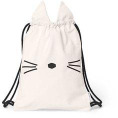 Liewood - gert gym bag - cat found on Polyvore featuring bags, rose purse, checked bag, cat print bag, panda bag and rose handbag