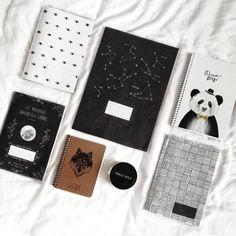 Diy black & white notebook cover (moon, minimalism, wolf)  flatlay back to school art, blackwork notebooks