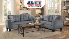 Home Elegance's Sinclair Grey sofa & love seat, upholstered in a linen blend fabric, features a fantastic blend of contemporary and retro styling for just $590! For more info about this #LivingRoom collection, be sure to click the picture above or call/text Dallas Furniture Online at 972-698-0805. #furniture #decorating #redecorating #couches #sofas #LoveSeats #DFW #Dallas #FortWorth Living Room Sofa, Home Living Room, Loveseats, Gray Sofa, Furniture Online, Signature Design, Sofa Set, Couches, Dallas