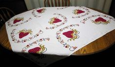 Vintage HARDY CRAFT Tablecloth Huge Red STRAWBERRIES Hearts for Valentines   | eBay Strawberry Hearts, Vintage Tablecloths, Bed Pillows, Pillow Cases, Valentines, Strawberries, Red, Crafts, Ebay