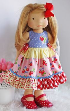 "Image of Strawberry Pickin' Dress fits most 17"" -19"" dolls"