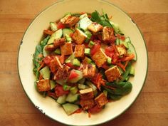 Spinach Avocado and Marinated Tofu Salad - I Love Vegan