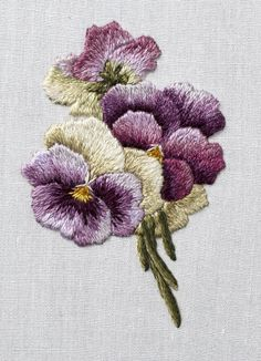 pansies | by VariedThreads. 2.5 inches tall needlepainting from Trish Burr's Miniature Needle Painting.