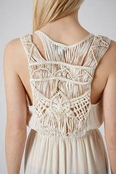 topshop macrame back maxi dress in beige lyst Macrame Knots, Macrame Jewelry, Macrame Dress, Topshop, Macrame Design, Macrame Patterns, Paracord, Designer Dresses, Beachwear