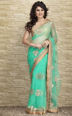 Sky-blue embroidered georgette saree with blouse