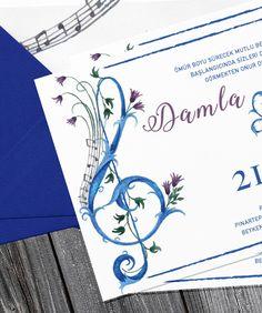 handmade invitation with treble clef detail