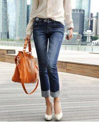 $14.52 Solid Color Bleach Wash Narrow Feet Slimming Straight Jeans For Women
