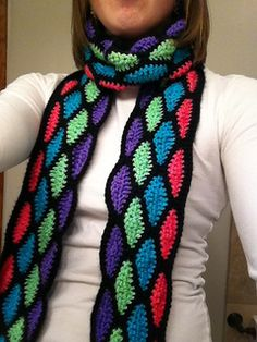 Stained Glass Scarf; maybe a great way to use leftover yarn; make an afghan? I like it.