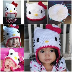 This crochet Hello Kitty Hat  is so fun and raises the cuteness factor thru the roof . :)  Free pattern and video--> http://wonderfuldiy.com/wonderful-diy-adorable-crochet-hello-kitty-hat/