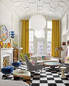 """ELLE Decor on Instagram: """"@simondoonan and @jonathanadler's color-punched living room is a lesson in balanced glitz. A Vans-inspired checkerboard rug grounds two…"""" Jonathan Adler, Gio Ponti, Best Interior, Home Interior Design, Decorating Your Home, Interior Decorating, Boho Chic, White Pendant Light, White Light"""