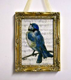 Fused Glass Blue Bird Painting