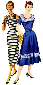 Fifties dressa luncheon dress in the pencil style and an everyday dress with the swing skirt, respectively.