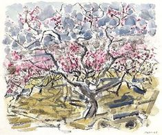 Artwork by John Marin, peach trees in blossom, no. Made of Pencil on paper; watercolor and pencil on paper Peach Blossom Tree, Peach Trees, Peach Blossoms, Blossom Trees, 1 John, Buy Posters, Impressionism, Marines, City Photo