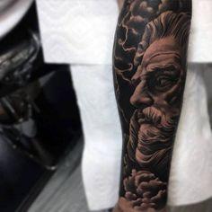 Greek God Male Forearm Sleeve Tattoos