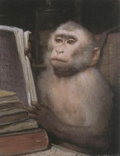 READING MONKEY by Gabriel Cornelius Ritter von MAX (Painter. Czech Republic 1840-1915 Austria) ... ... Book, Humor. READING - It should be every primate's priority :-)