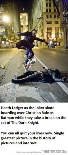 Heath Ledger and Christan Bale take a break from shooting The Dark Knight