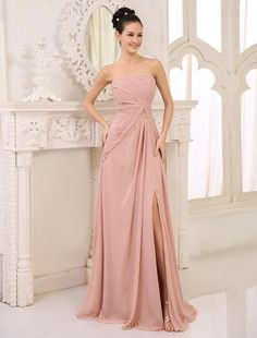 best=Chiffon Bridesmaid Dress Blush Pink Ruched Prom Dress Strapless Sleeveless High Split Floor Length Wedding Party Dress Fest We Strapless Prom Dresses, Blush Bridesmaid Dresses, Homecoming Dresses, Party Gowns, Wedding Party Dresses, Party Wedding, Blush Rose, Blush Pink, Robes Quinceanera