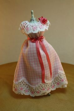 Dollhouse Miniature Handmade Lady's Pink Gingham Gown Displayed on Dress Form (1/12 Scale) by NAMEMINIATURES