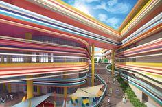 Unbelievable Modern Architecture Designs – My Life Spot Modern Architecture Design, Facade Design, School Architecture, Architecture Plan, Primary School, Elementary Schools, Arch Building, Kindergarten Design, School Building