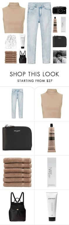 """""""STAY A MYSTERY, IT'S BETTER"""" by constellation-s ❤ liked on Polyvore featuring Monki, Rare London, Yves Saint Laurent, Aesop, Linum Home Textiles, NARS Cosmetics, Dolce&Gabbana and Context"""