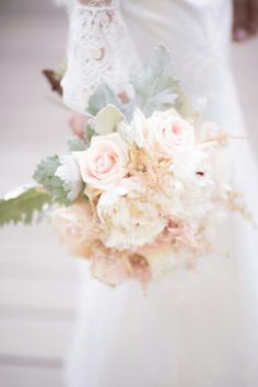Blush Peonies and Garden Roses Bridal Bouquet