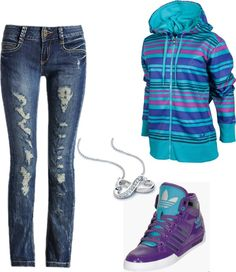 """""""Ripped jeans and Adidas hightops"""" by brandyayers on Polyvore"""